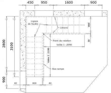 www.le-metal.net - Calculer un escalier quart tournant