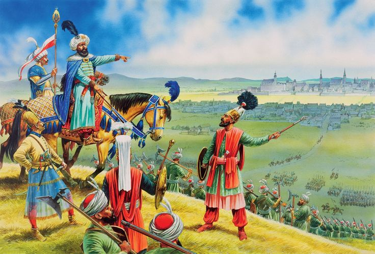 On 14 July 1683 the Ottoman Turks arrived before the Habsburg capital. The Grand Vizier Kara Mustafa is portrayed here directing the troops