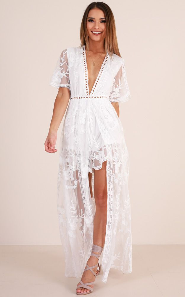 65a4d466134 Lets Get Loud Maxi playsuit in white Produced By SHOWPO