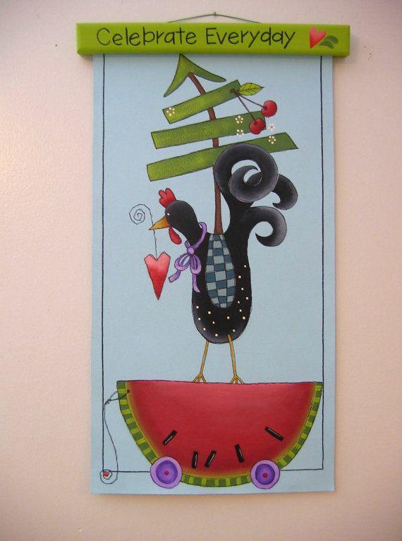 Wall Hanging Folk Art Chicken Watermelon Tree by barbsheartstrokes,