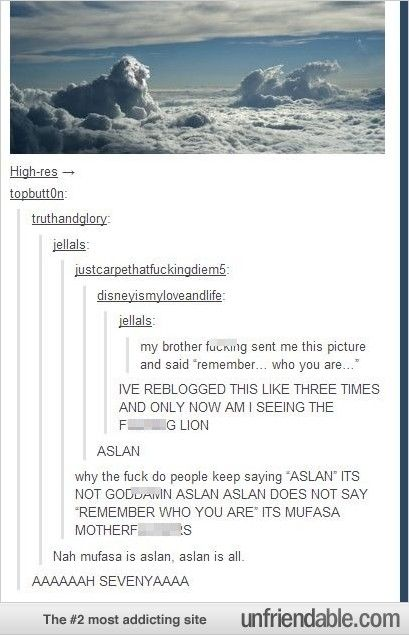 """""""My brother sent me this picture and said Remember who you are."""" """"Aslan"""" """"why do people keeping saying Aslan? It's not Aslan. Aslan does not say Remember who you are, it was Mufasa."""" """"Nah, Mufasa is Aslan, Aslan is all"""""""