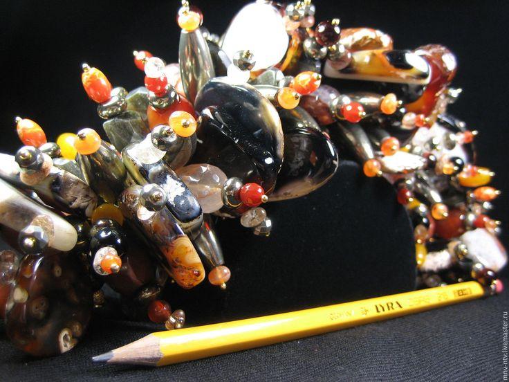 """Купить БРАСЛЕТ """"ПРИРОДНЫЙ"""" (с эффектом дополнительного объёма) - комбинированный, необычное украшение, крупный браслет"""