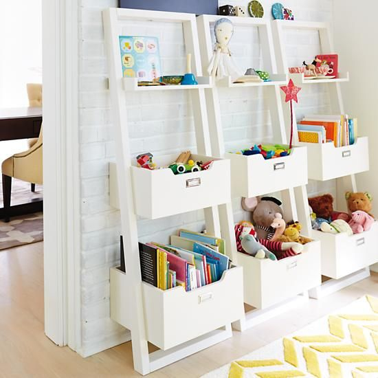 Kids' Desk: Kids White Leaning Wall Bookcase in Bookcases | The Land of Nod