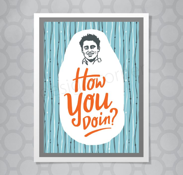 Funny Illustrated Joey Friends All Occasion Card by designcorner on Etsy