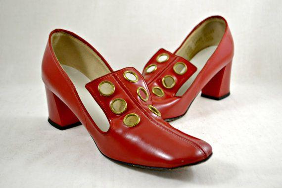 Vintage 60 1960 italiano rosso tacchi STRINGATE il Decollete invasione britannica Mod Twiggy scarpe donna taglia 6 6.5