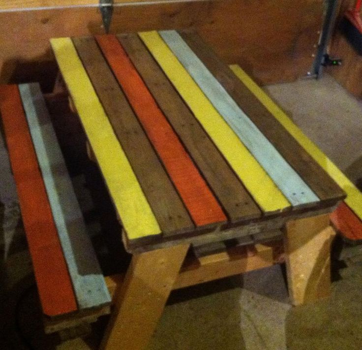 """Pallet Picnic Table. Creator says: """"Kiddos picnic table!! I love the combination of paint and natural!!! How about you?"""" I have to agree wholeheartedly! More pallet patio, gardening, DIY furniture ideas and inspiration at http://pinterest.com/wineinajug/passion-for-pallets/"""