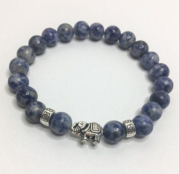 15.99$ - Marble Stone Elephant Bead Bracelet - Miss Fit Boutique