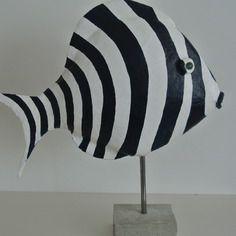 Sculpture poisson en papier mâché