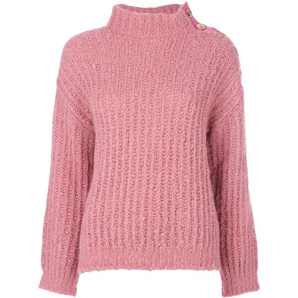 Boutique Moschino chunky knit turtleneck jumper ($550) ❤ liked on Polyvore featuring tops, sweaters, pink, pink jumper, turtle neck jumper, pink sweater, turtleneck top and chunky knit turtleneck sweater