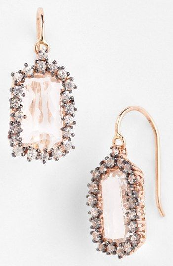 barrel drop earrings in rose gold and white topaz http://rstyle.me/n/eyh8kpdpe