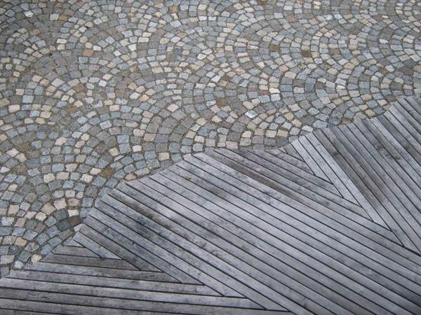 Sols extérieur en bois et en pierre Transition gris / gris