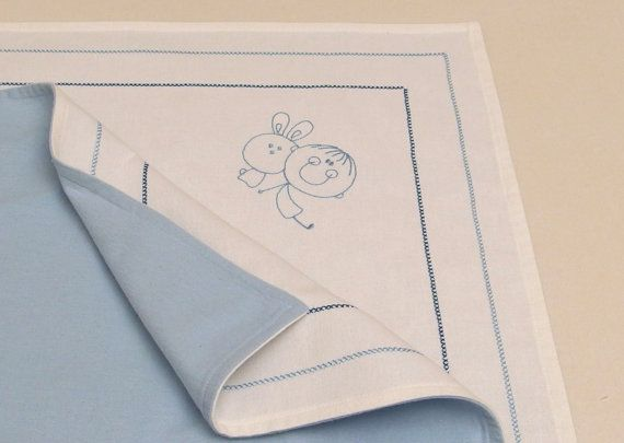 Embroidered Baby Blanket White Blue Cotton by VirgoCottonLinen #VirgoCottonLinen #Flannel #Cotton #Boys #Baby #Shower #Flannel #Blanket #BabyBlanket #BabyBedding #Baby #Linens #CottonLinens #Cotton #Linens  #Baptism #Christening #Embroideredbabyblanket