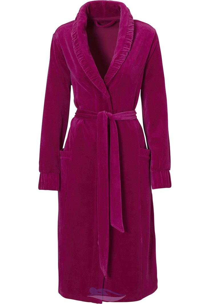 From Pastunette, a classic & elegant deep pink velvet morninggown with a classic ruched shawl collar