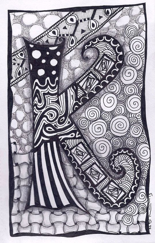 Hey, I found this really awesome Etsy listing at http://www.etsy.com/listing/120965803/zentangle-letter-k-zebra-letters-name