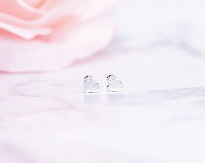 Silver, Dainty Heart Stud Earrings, Bridesmaid Gift, Be My Bridesmaid, Bridal Party Gift, Bridesmaid Proposal, Maid of Honour, Flower Girl