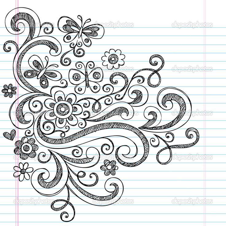 Herunterladen - Blume und Schmetterling skizzenhafte Kritzeleien design-Elemente — Stockillustration #8198764