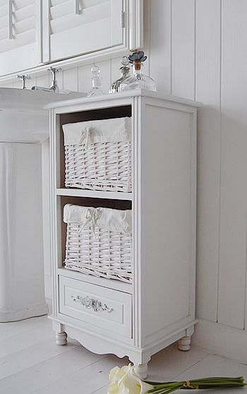 Rose white bathroom storage furniture side view