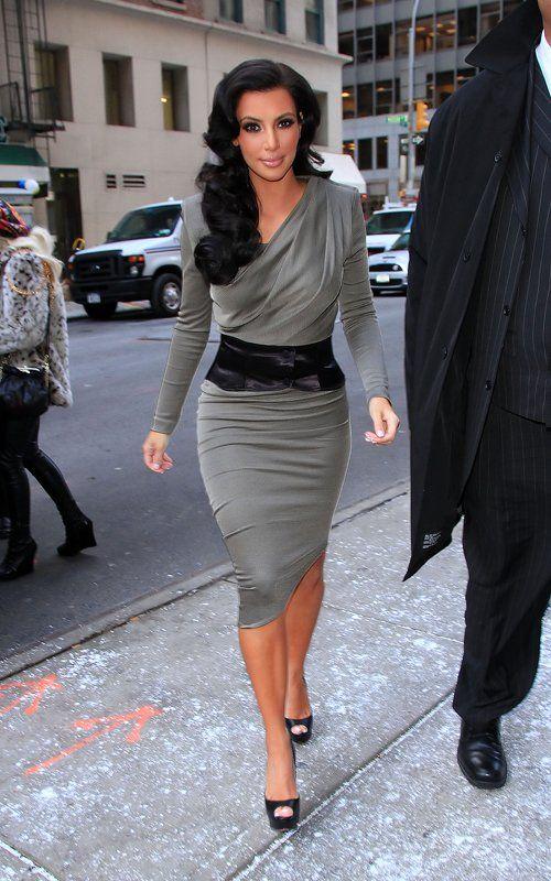 Kim Kardashian wearing Christian Louboutin Lady Peep Pumps Alexander Wang Satin-jersey goddess dress. Kim Kardashian World's Greatest Couple event December 14 2010.