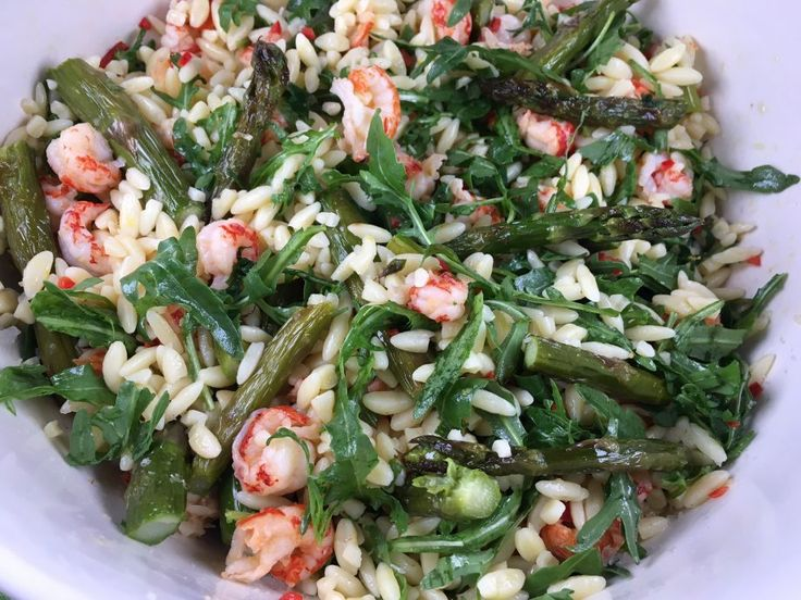Roasted asparagus, orzo and crayfish salad. The best way to make the most of British asparagus.