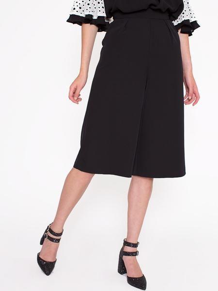 Dahlia Stevie Black Knee Length Smart Culottes with Pockets