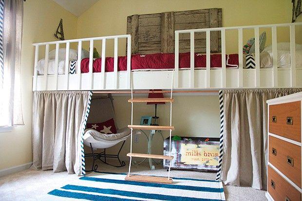 #decoração A cama suspensa é uma ótima ideia para aproveitar melhor o espaço: