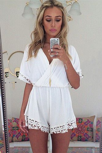V-neck lace chiffon jumpsuit rompers