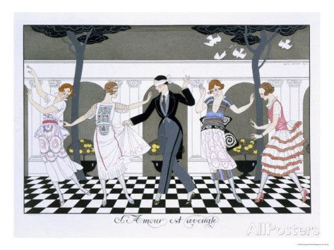 Love Is Blind Engraved By Henri Reidel 1920 Giclee Print Georges Barbier At