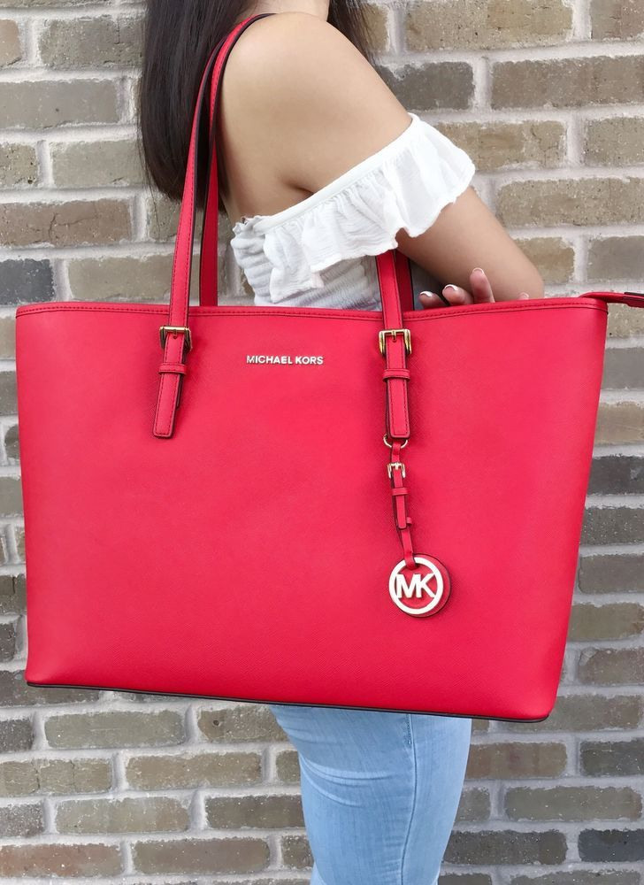 138769cb8217 Michael Kors Jet Set Travel Top Zip Medium Tote Multifunction Dark Sangria  Red #MichaelKors #Tote