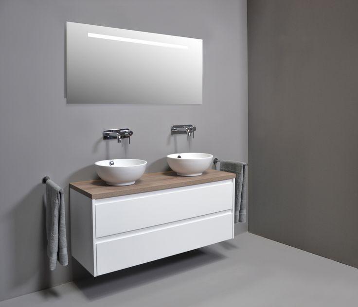 Proline - Opbouw kom porselein hoogglans wit badkamer - wastafel - proline - spiegelkast - badjas - sanibell - badmeubel - badkamermeubel