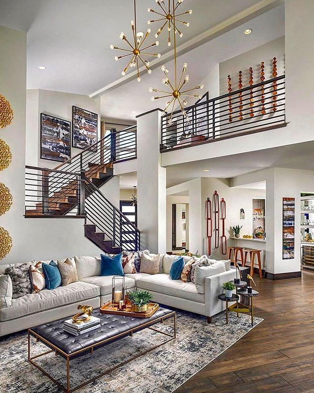 Modern Interior Design At Its Best The Modern Staircase Design Fits This Contemporary Contemporary Decor Living Room Luxury House Designs Modern House Design
