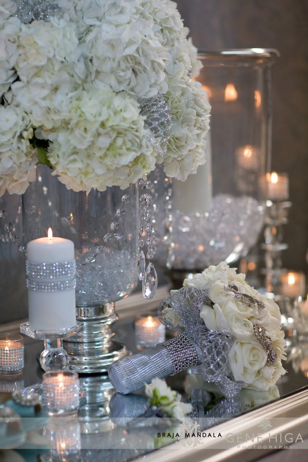 Sparkle + Crystal + White Wedding Theme | Jennifer Cole Florals #diamondwedding #silverwedding #weddinginspiration