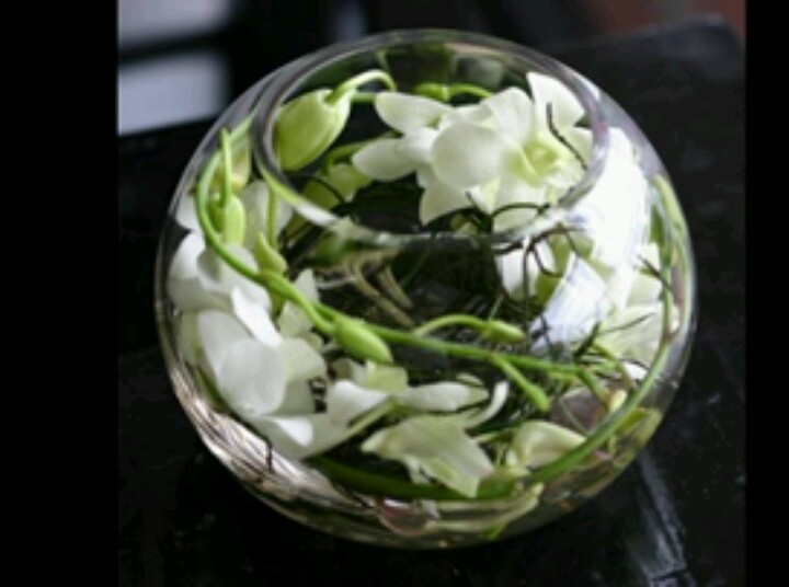 Table centrepiece orchids in fishbowl reception