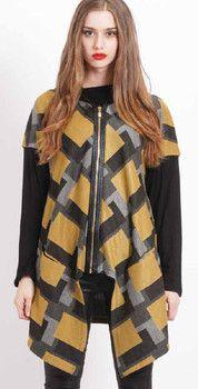 Black/Grey/Yellow Square Jacket - Winter 2015 Collection - FLORENCIA PHILS MILAN