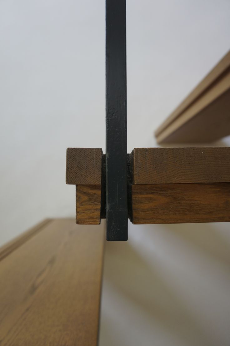 stairs / connection / wood / metal / detail / open riser / hang