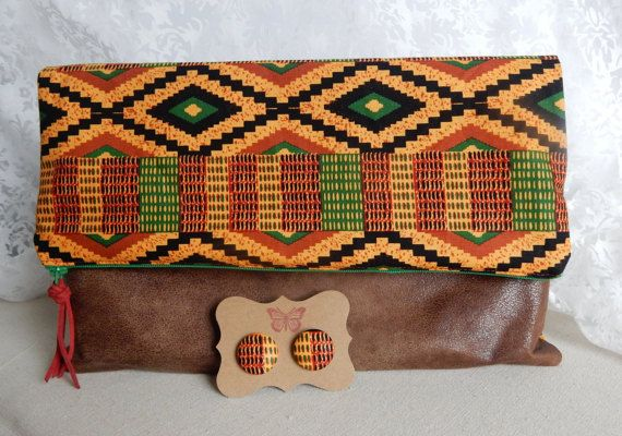 African Printed Fabric: Fold Over Clutch by SpiritualButterfly