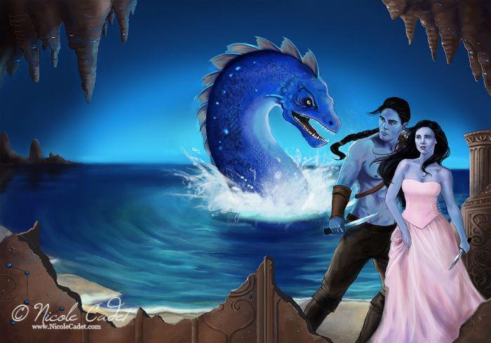Wraparound illustration for the novel 'The Blue Breeze