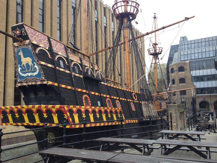 Replica of Sir Francis Drake's ship Golden Hinde.  Golden Hinde II.