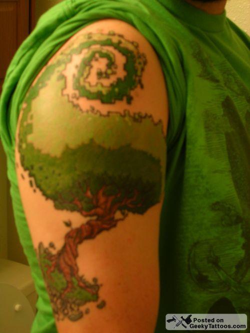 pixelated tree tattoo