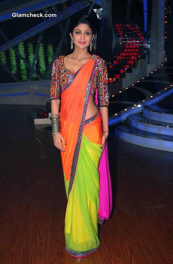 Shilpa Shetty in Nishka Lulla http://Nisshk.com/ Bright Color Block Saree w/ Tribal Embroidered Blouse @ Nach Baliye 6, Dec, 13