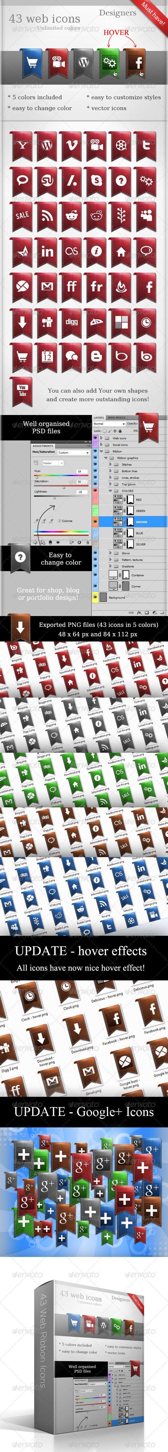 80 Web Ribbon Icons - Web Icons
