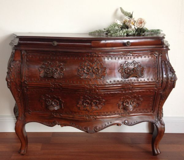 hand carved mahogany bedroom furniture antique french xv commode rare wood sets