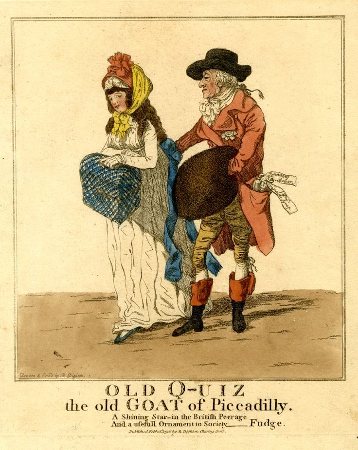 """Old q-uiz the old goat of Piccadilly"" features a young milliner, 1796"