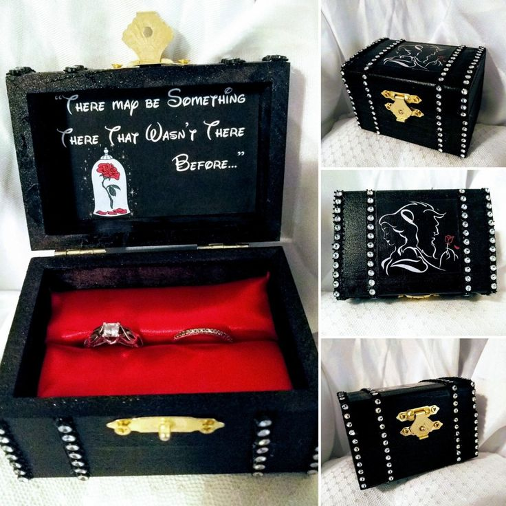 Disney inspired Beauty & the Beasts Proposal Ring Box w/ Movie