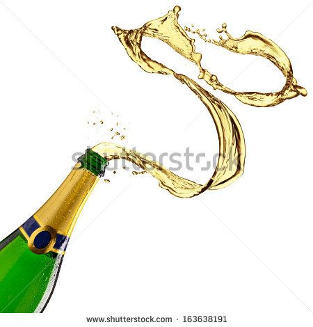 Bottle of champagne with splash on white background - stock photo
