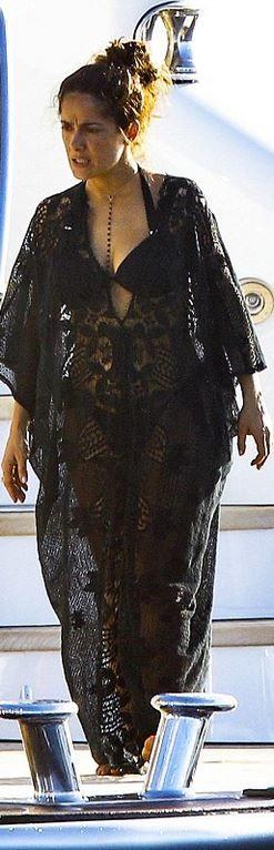 Salma Hayek,black lace gown