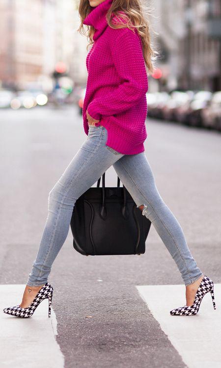 herringbone heels + pink sweater.