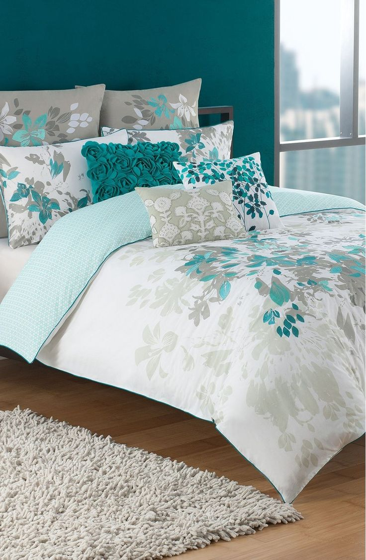 Gray And Turquoise Living Room Decorating Ideas: Teal And Turquoise... KAS Designs 'Luella' Duvet Cover