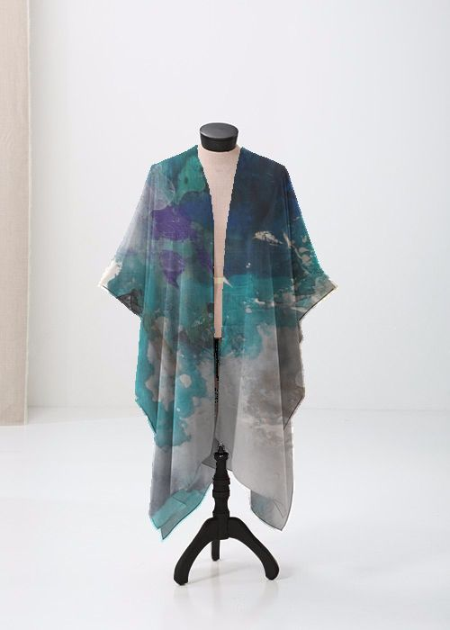 Anne Marie Oliver From All Things IV Sheer Wrap 100.00 USD_________________ #shopvida #vidavoices #vida #scarf #scarves #tops #fashion #womensfashion #originalart #trendy #florals #abstract #landscape #paradise #sweet #textiles #designers #apparel #annemarieoliver #fromallthings #wraps