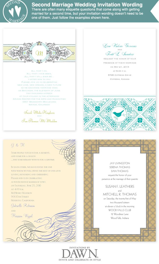 Wedding Invitation Wording For A Second Marriage
