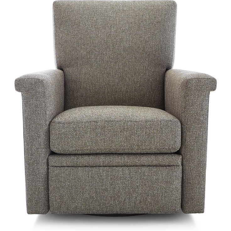 Shop Declan 360 Swivel Recliner.   Upholstered with subtle tones and depth of color, the swivel  recliner  has a casual, relaxed attitude.   The Declan Swivel Recliner  is a Crate and Barrel exclusive.